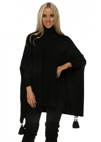 Black Knitted Tassel & Pearl Polo Poncho Jumper