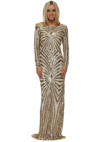 Gold Sequinned Low Back Evening Dress