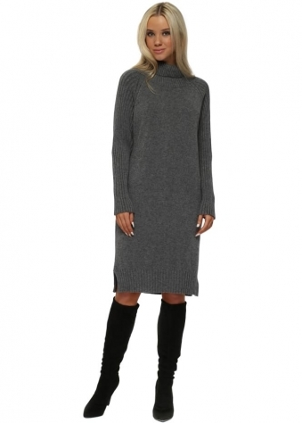 Grey Polo Neck Ribbed Jumper Dress