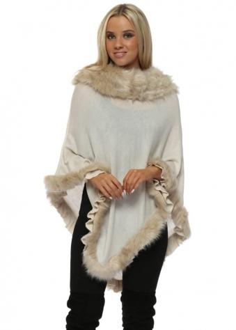 Ivory Faux Fur Fine Wool Polo Poncho