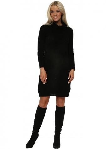 Black Cable Knit Polo Neck Jumper Dress