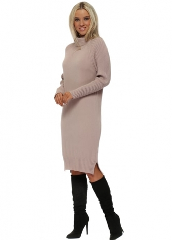 Nude Pink Polo Neck Ribbed Jumper Dress