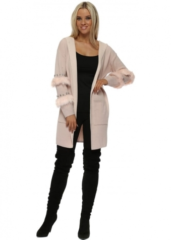 Baby Pink Diamante & Faux Fur Hooded Cardigan
