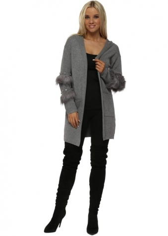 Grey Diamante & Faux Fur Hooded Cardigan