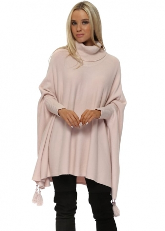 Baby Pink Knitted Tassel & Pearl Polo Poncho Jumper