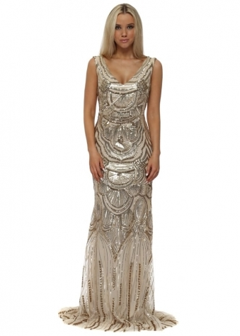 Gold Scallop Sequinned Fishtail Evening Dress