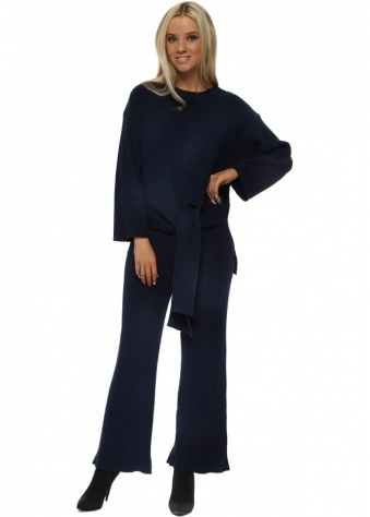 Navy Blue Ribbed Tie Knot Jumper & Pants Lounge Set