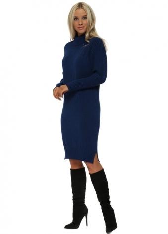 Blue Polo Neck Ribbed Jumper Dress