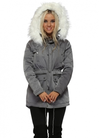 Grey Parka Coat With Faux Fur Lining & Hood