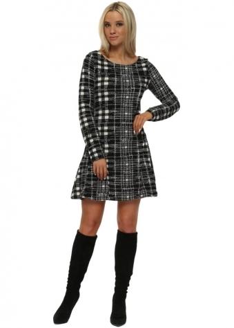 Black & White Tweed Fit & Flare Dress