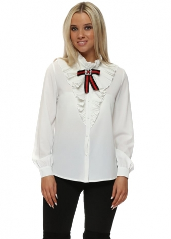 White Ruffle Collar Diamonte Bow Shirt