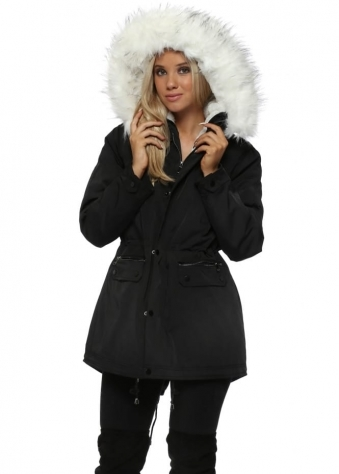 Black Parka Coat With Faux Fur Lining & Hood
