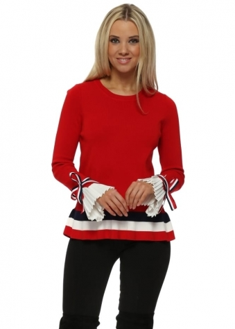 Red French Frill & Bow Cuffs Classic Jumper