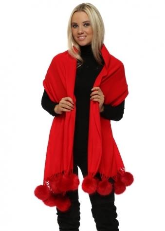 Scarlet Red Cashmere Faux Fur Pom Pom Wrap