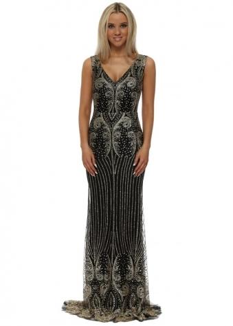 Black & Gold Glitter Sequins Fishtail Evening Dress