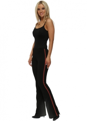 Black Italian Ribbon Flared Trousers
