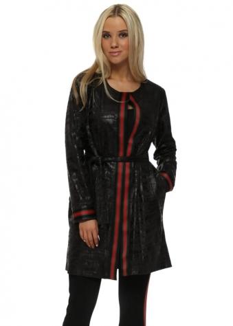 Black Faux Leather Italian Ribbon Mac