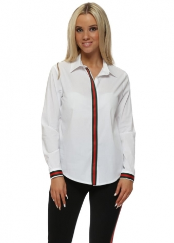 White Cotton Italian Ribbon Classic Shirt