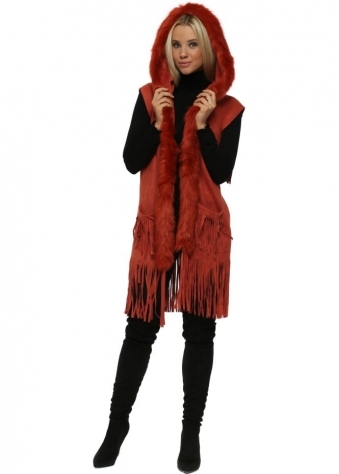 Rust Red Suedette Faux Fur Sleeveless Hooded Jacket