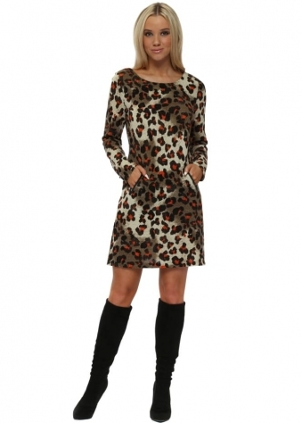 Beige Animal Print Shift Dress