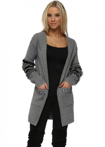 Grey Aztec Frill Hooded Cardigan