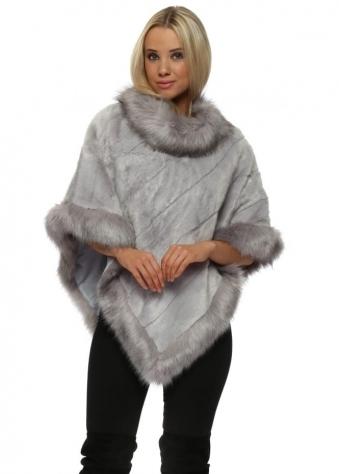 Luxury Dove Grey Faux Fur Poncho
