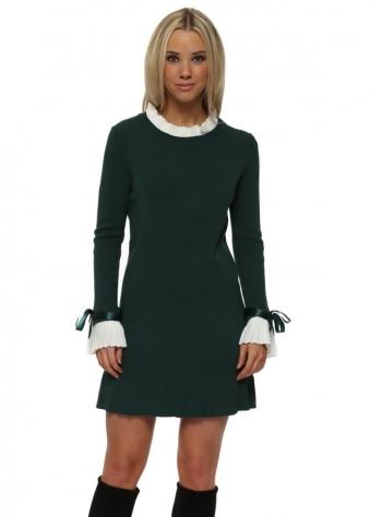 Green Pleated Collar & Cuffs Jumper Dress