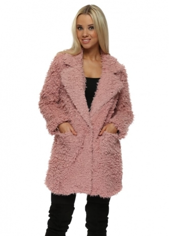 Pink Shaggy Faux Fur Overcoat