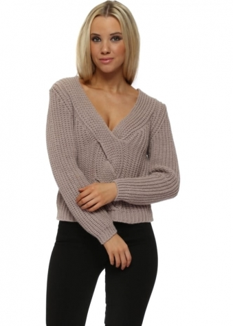 Dusky Pink Cable Knit Cropped Jumper