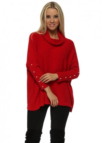 Red Cowl Neck Pearl Cuffs Jumper