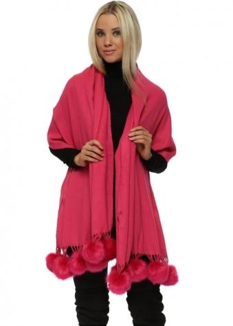 Hot Pink Cashmere Faux Fur Pom Pom Wrap