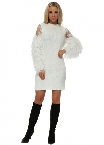 White Fluffy Feather & Lace Knitted Jumper Dress