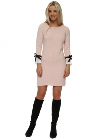Baby Pink Contrast Pleated Cuffs Midi Jumper Dress