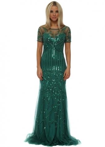 Green Sequinned Mesh Short Sleeved Evening Dress