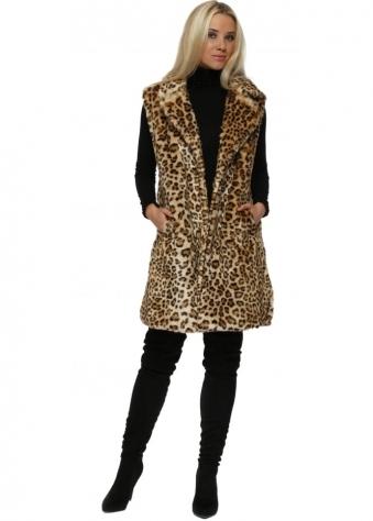 Leopard Print Premium Faux Fur Long Gilet