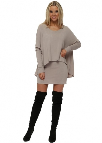 Beige Two In One Tunic Jumper Dress