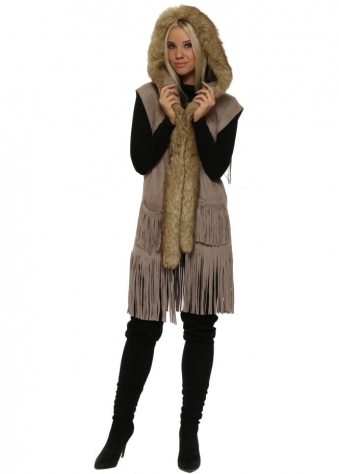 Mocha Suedette Faux Fur Sleeveless Hooded Jacket