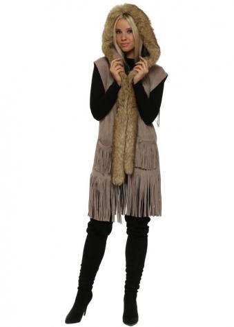 Mocha Suedette Faux Fur Sleeveless Hooded Jacket