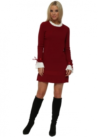 Burgundy Pleated Collar & Cuffs Jumper Dress