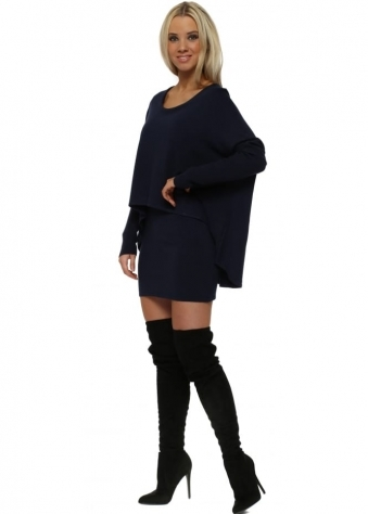 Navy Blue Two In One Tunic Jumper Dress