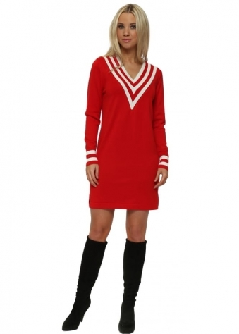 Red Knitted Cricket Jumper Dress