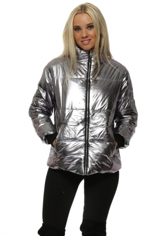 Silver Foil Look Quilted Puffer Jacket