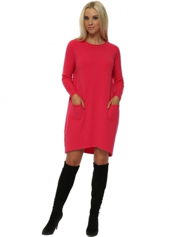 Hot Pink Two Pocket Knitted Jumper Dress
