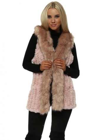 Luxe Pink Knitted Faux Fur Long Suede Gilet