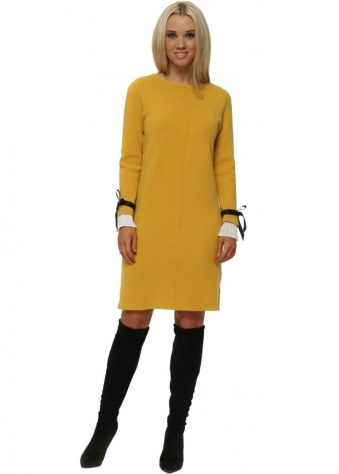 Mustard Contrast Pleated Cuffs Midi Jumper Dress