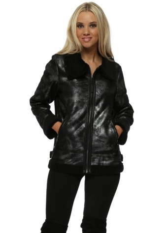 Black Glitter Faux Shearling Aviator Jacket