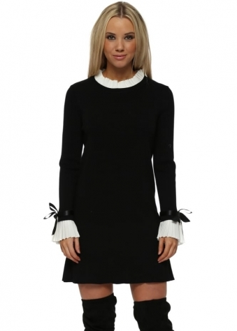 Black Pleated Collar & Cuffs Jumper Dress
