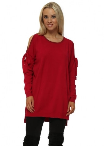 Red Lurex Trimmed Cold Shoulder Tunic Jumper