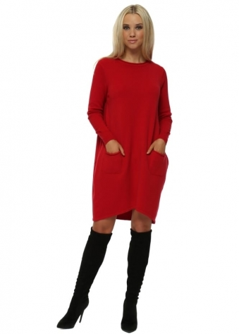 Red Two Pocket Knitted Jumper Dress
