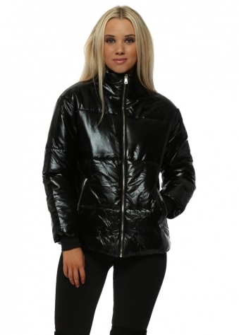 Black Foil Look Quilted Jacket